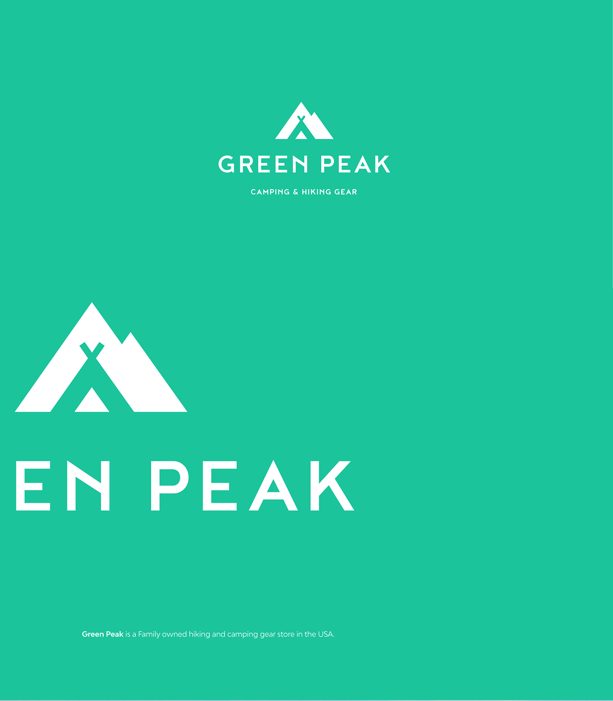 professional, flat logo for Green Peak. Outdoor logo, Hiking and camping logo design. Mountain and tent in the negative space.