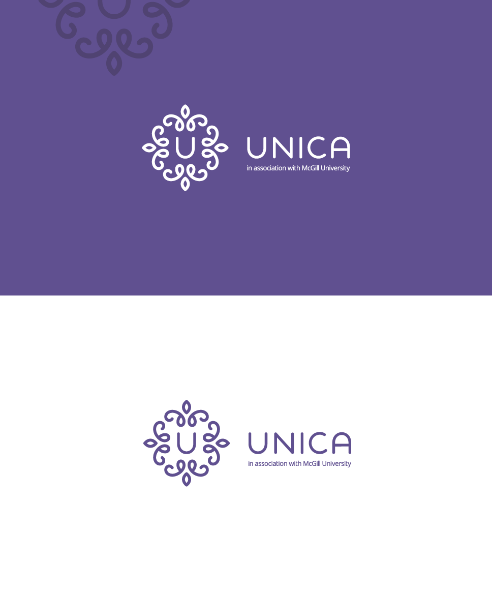 Flat, professional, famine, logo design for unica. Fertility clinic logo. floral logo construction, u letter inside.
