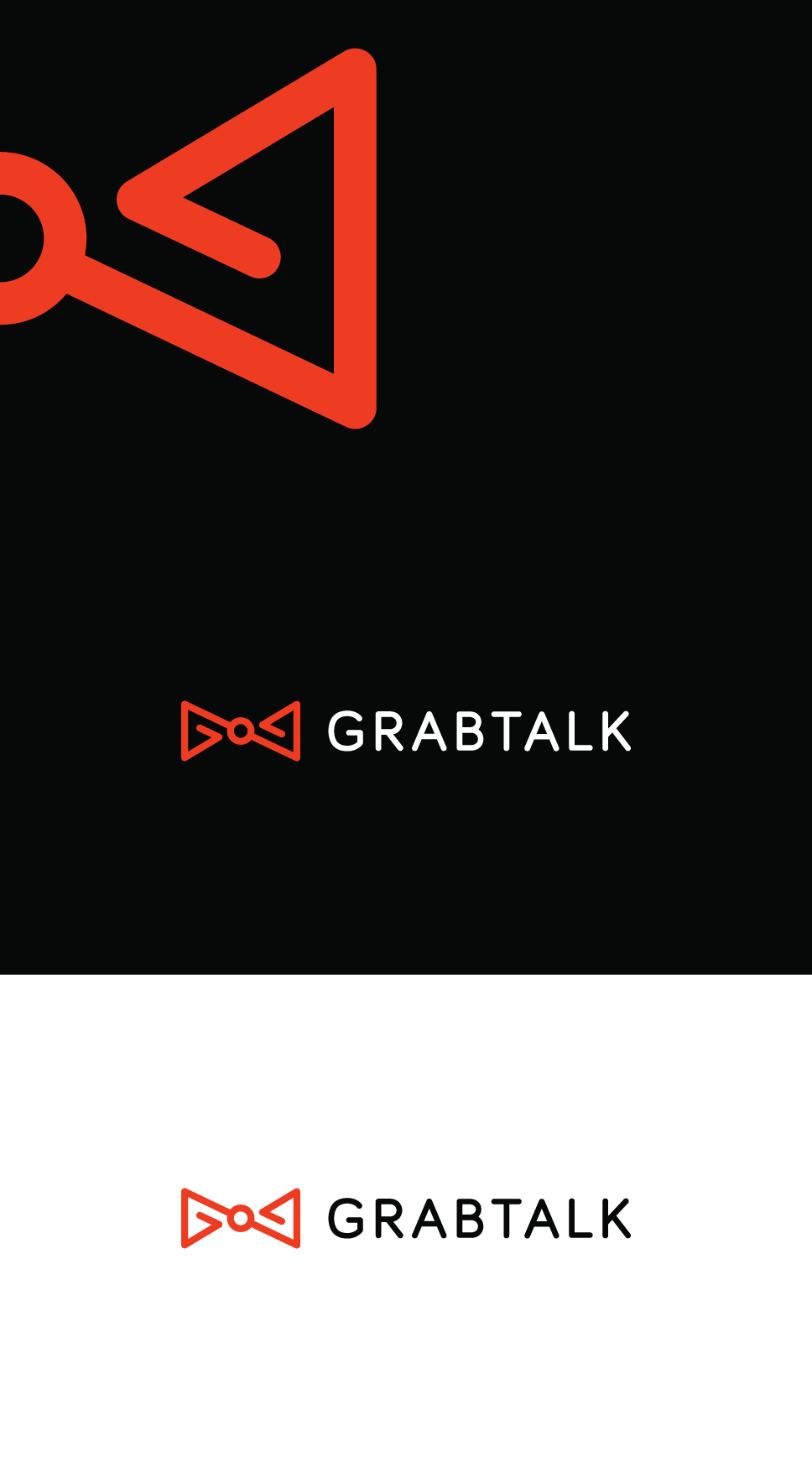 Flat, professional logo design for grabtalk. a bow tie logo, rounded typography. A line style bow tie standing for assistance, path, travel.  Interpreted as Servant, friend, concierge local guide logo