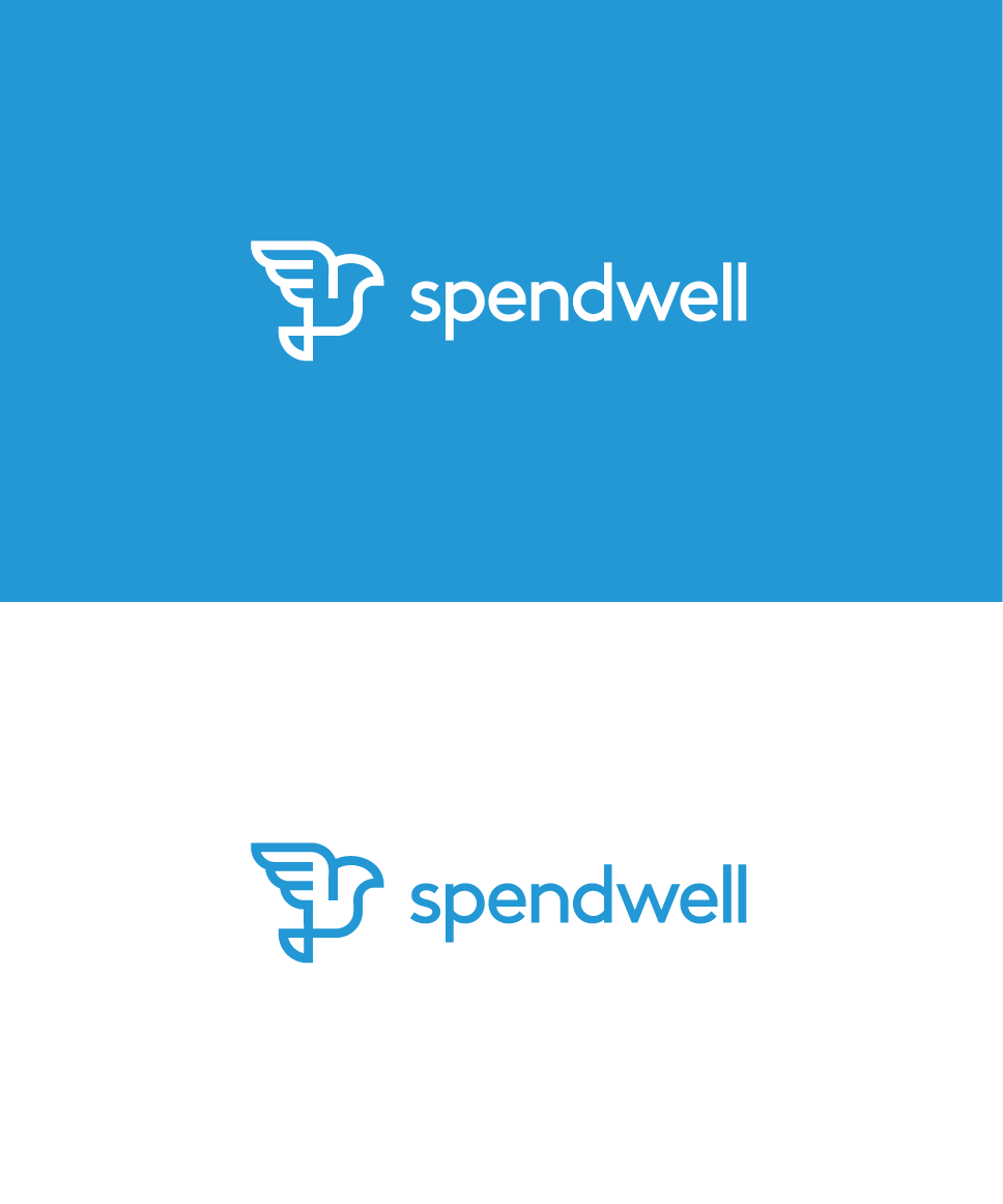 Flat Logo, professional logo design for SpendWell. The finace management company. Bird logo. freedom, monoline - path.