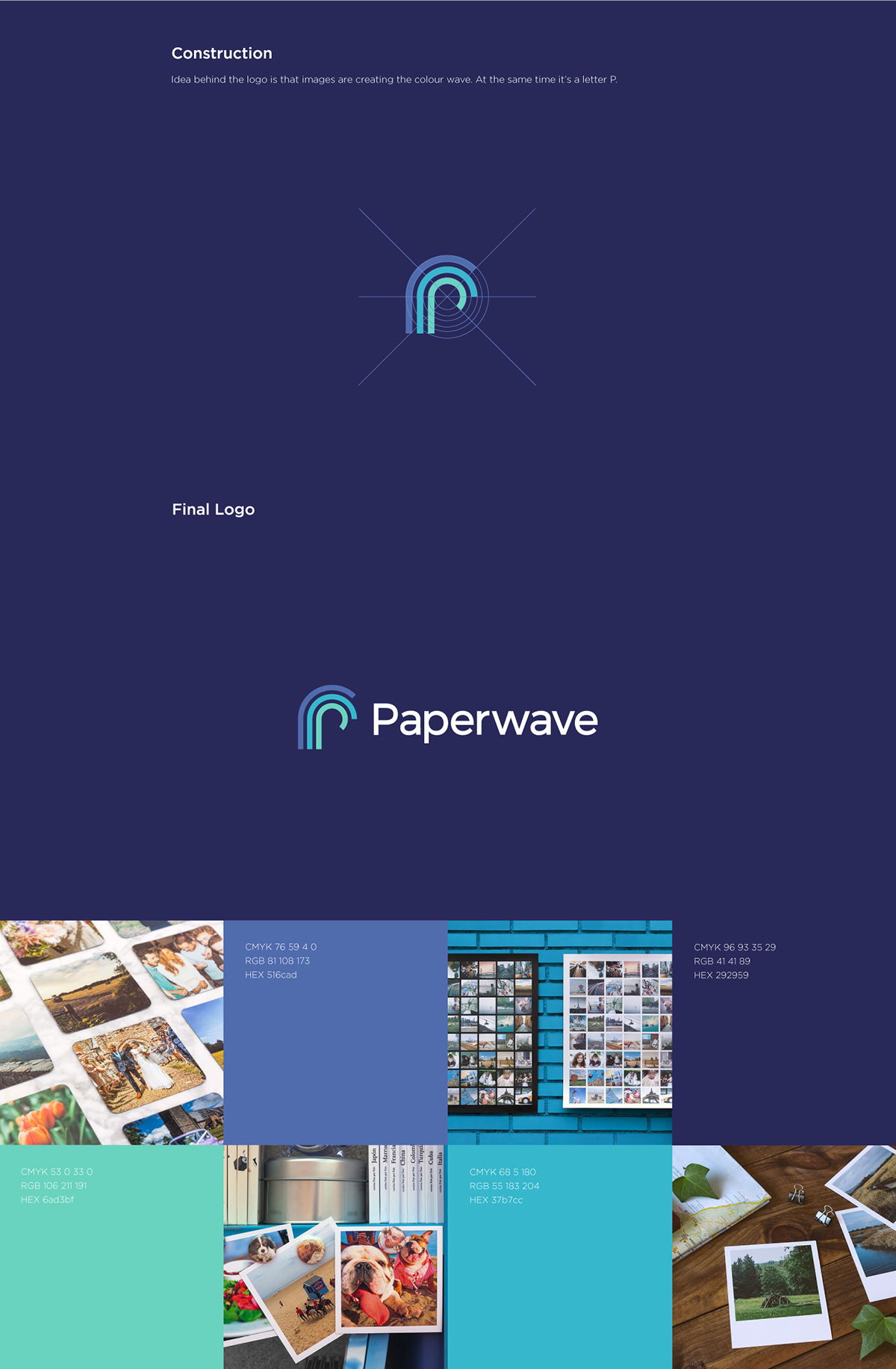 Flat Logo design, rebranding for Paperwave. Paperwave Print studio logo design. A small print studio based out of Great Yarmouth, UK. It was created, cretative P lettermark. combination of two visuals P and wave.