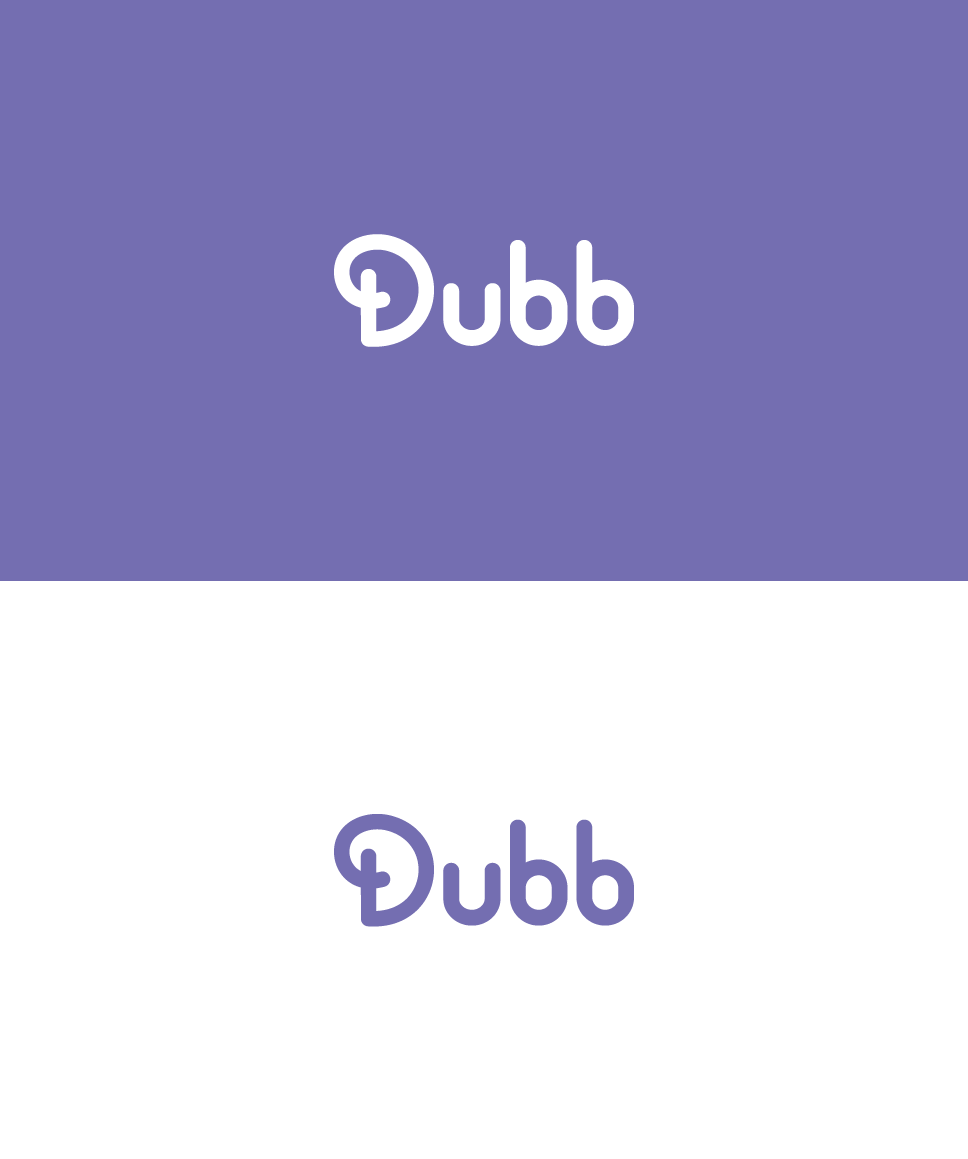 clean, flat logotype. Dubb wordmark. Rounded logo. Typographic logo.