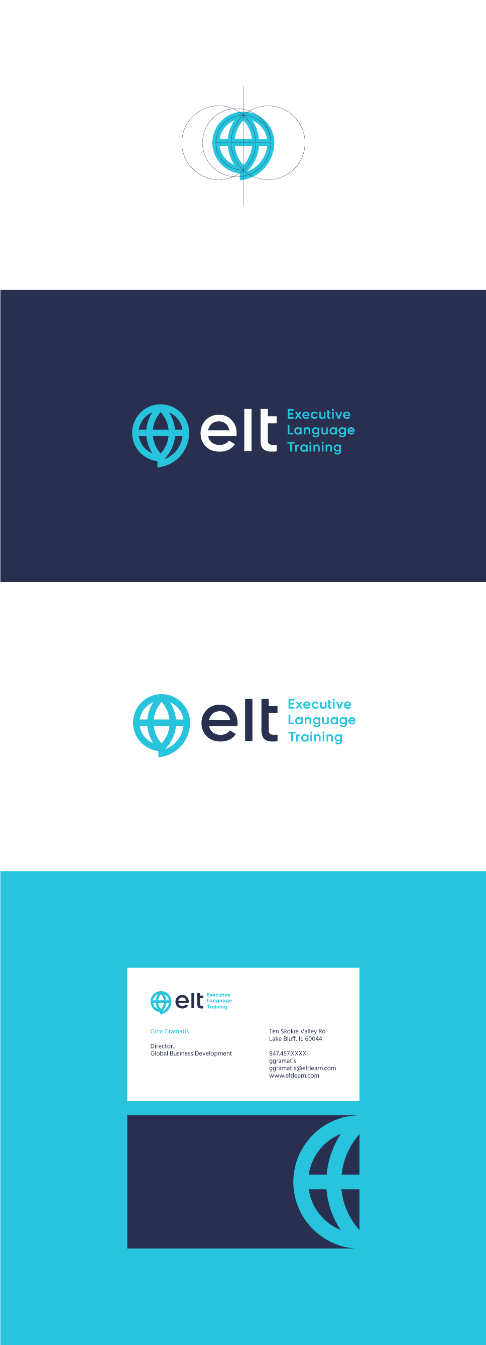 blue globe logo and business card design for a language training