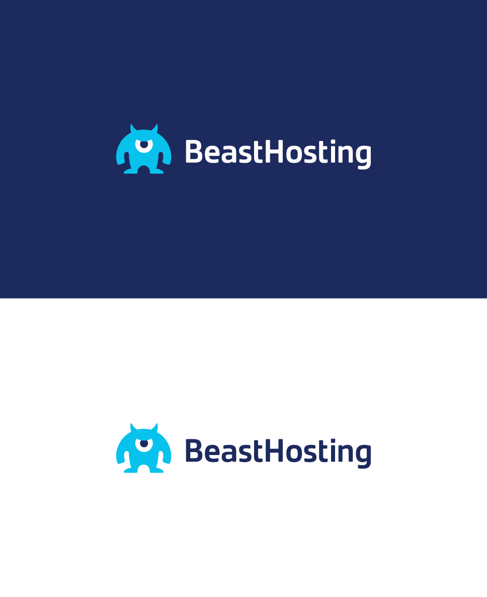 blue mascot beast logo for a hosting service