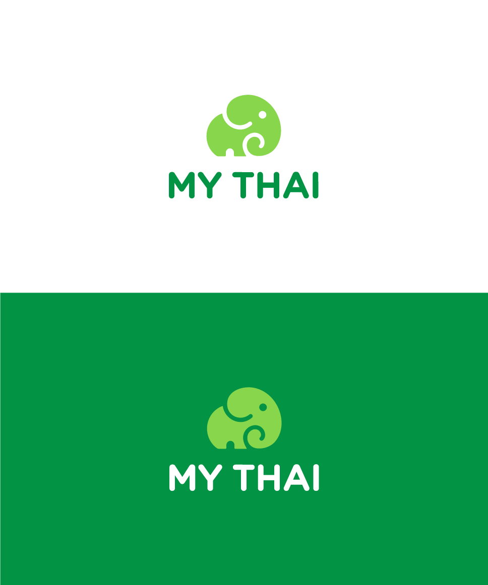 green flat mascot elephant for thai food restaurant